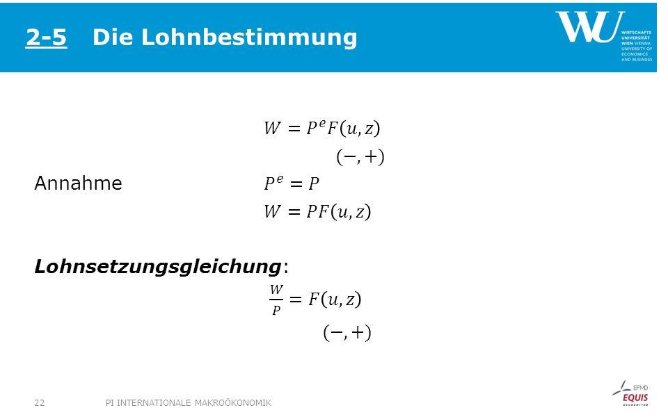 Die Lohnbestimmung 2-5. 𝑊= 𝑃 𝑒 𝐹 𝑢,𝑧 (−,+) Annahme 𝑃 𝑒 =𝑃 𝑊=𝑃𝐹 𝑢,𝑧 Lohnsetzungsgleichung: 𝑊 𝑃 =𝐹 𝑢,𝑧