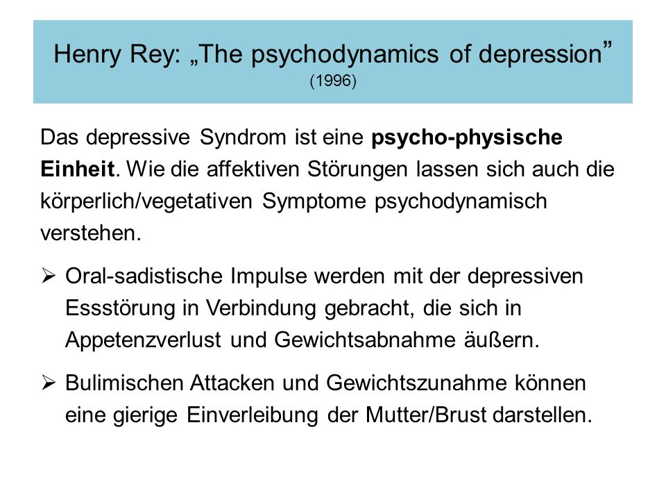 "Henry Rey: ""The psychodynamics of depression (1996)"