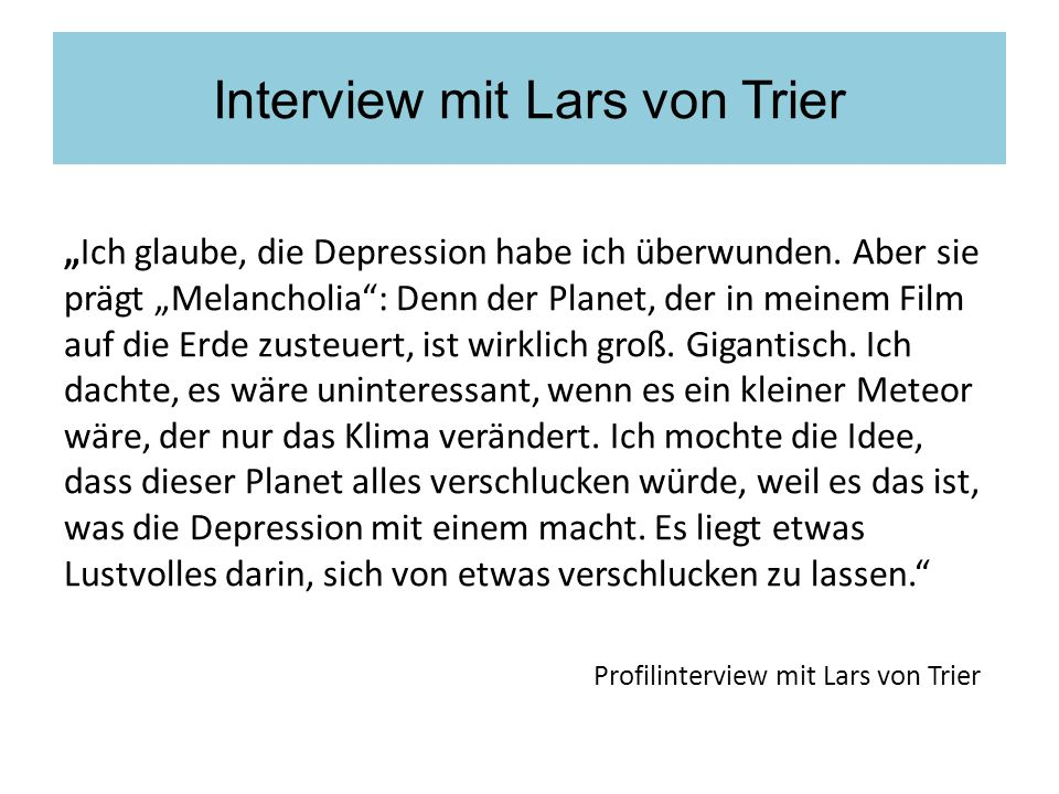 Interview mit Lars von Trier