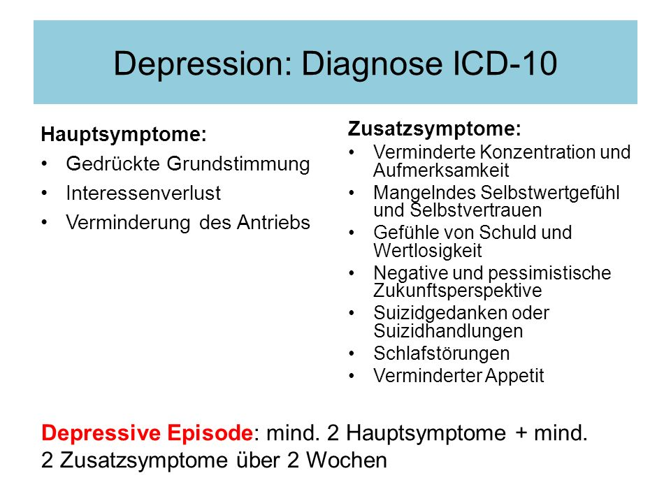 Depression: Diagnose ICD-10