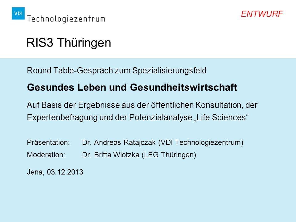 RIS3 Thüringen Gesundes Leben und Gesundheitswirtschaft