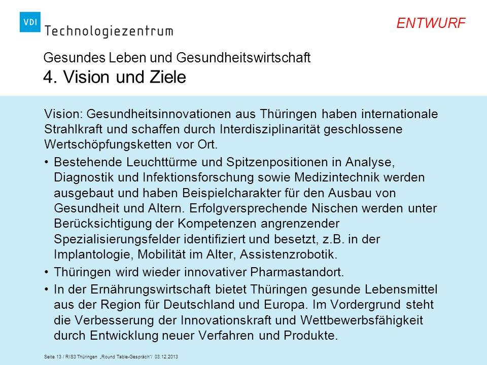 Gesundes Leben und Gesundheitswirtschaft 4. Vision und Ziele