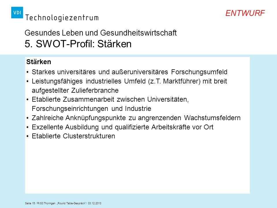 Gesundes Leben und Gesundheitswirtschaft 5. SWOT-Profil: Stärken