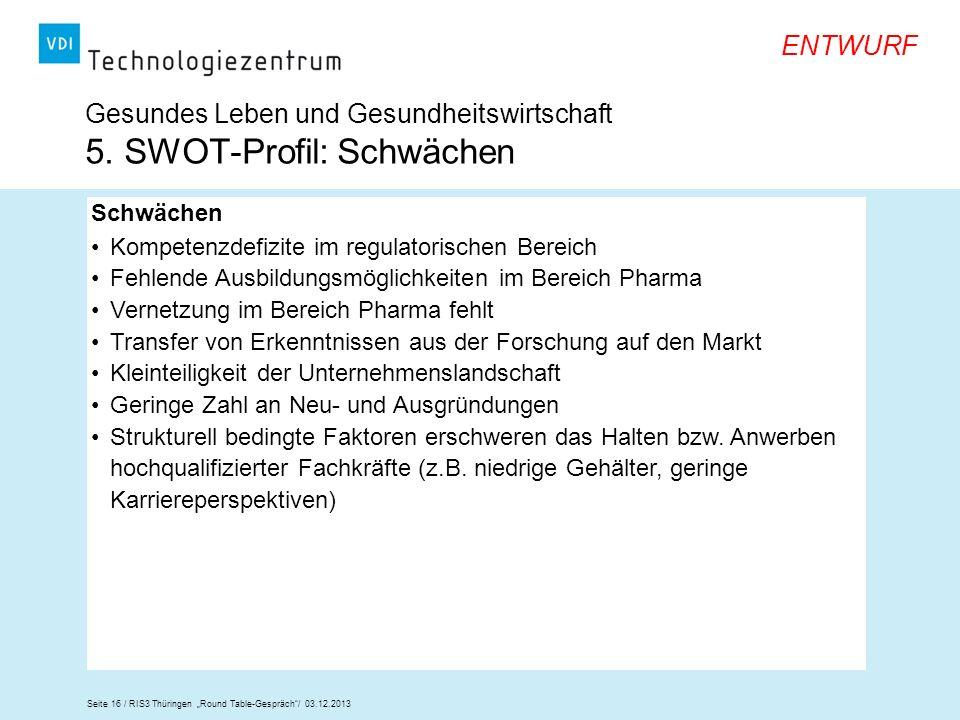 Gesundes Leben und Gesundheitswirtschaft 5. SWOT-Profil: Schwächen