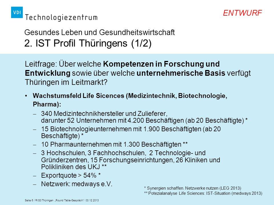 Gesundes Leben und Gesundheitswirtschaft 2. IST Profil Thüringens (1/2)