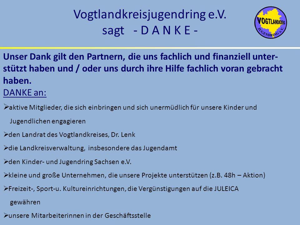 Vogtlandkreisjugendring e.V. sagt - D A N K E -