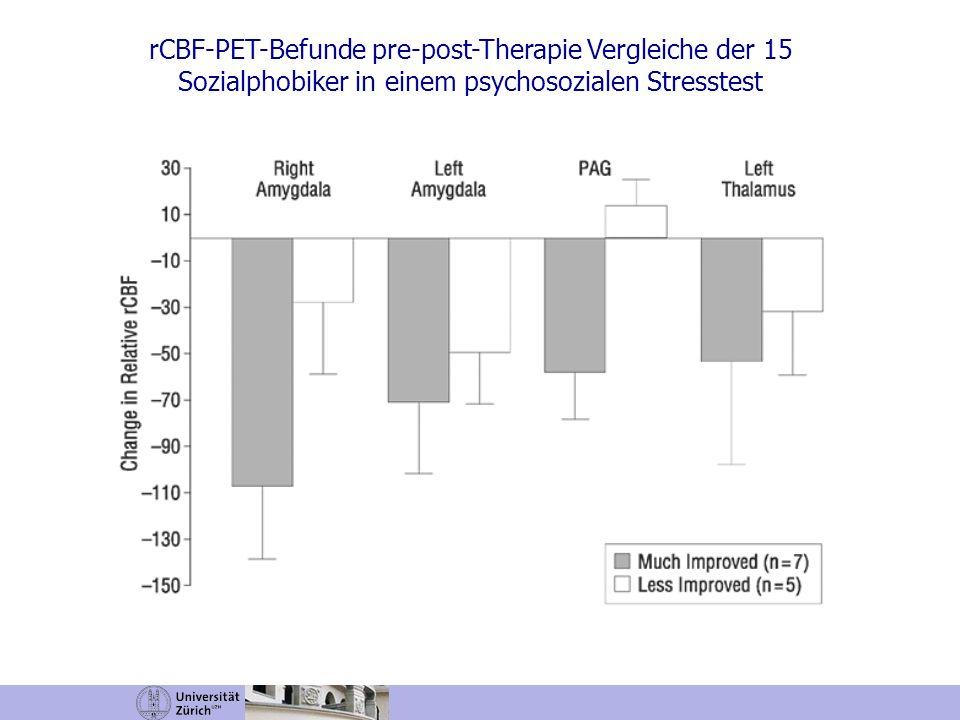rCBF-PET-Befunde pre-post-Therapie Vergleiche der 15