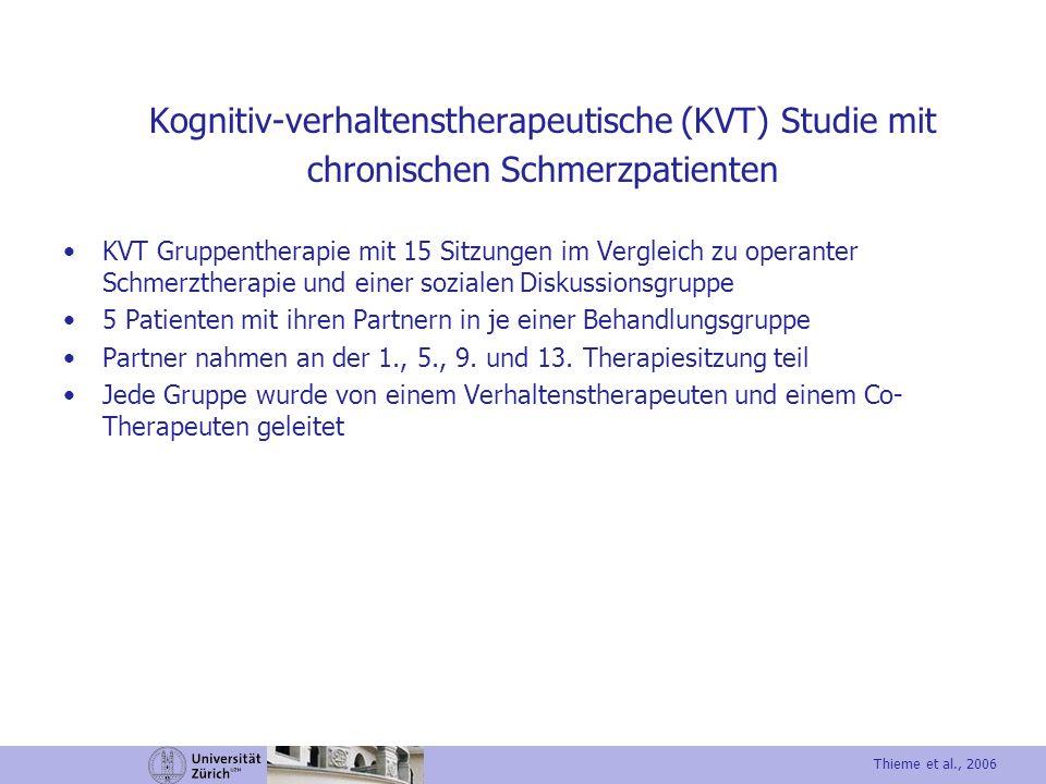 Kognitiv-verhaltenstherapeutische (KVT) Studie mit chronischen Schmerzpatienten