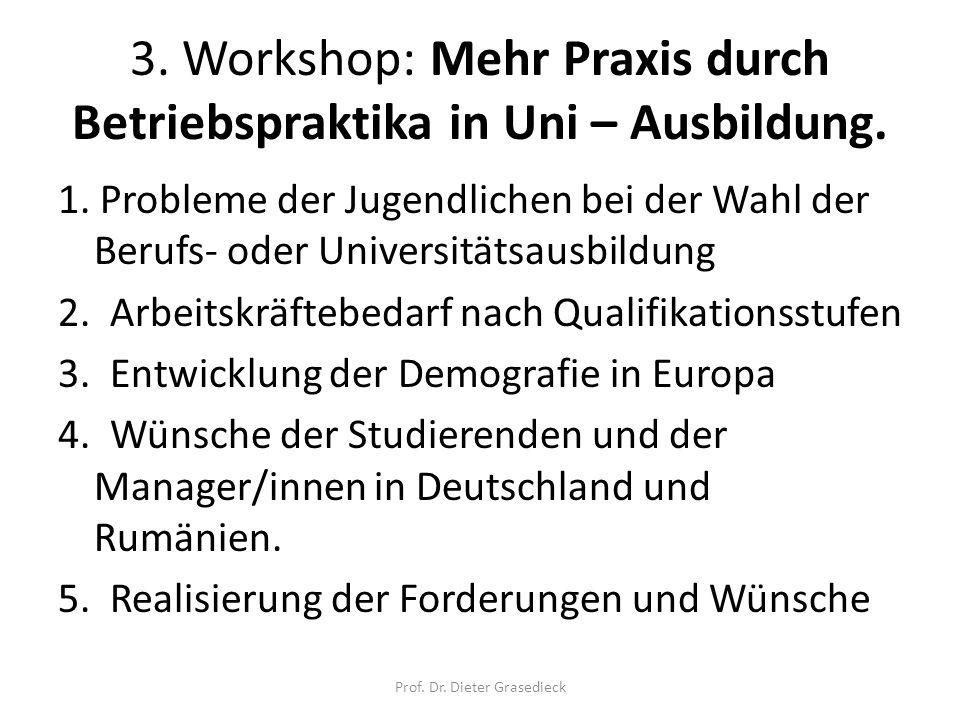3. Workshop: Mehr Praxis durch Betriebspraktika in Uni – Ausbildung.