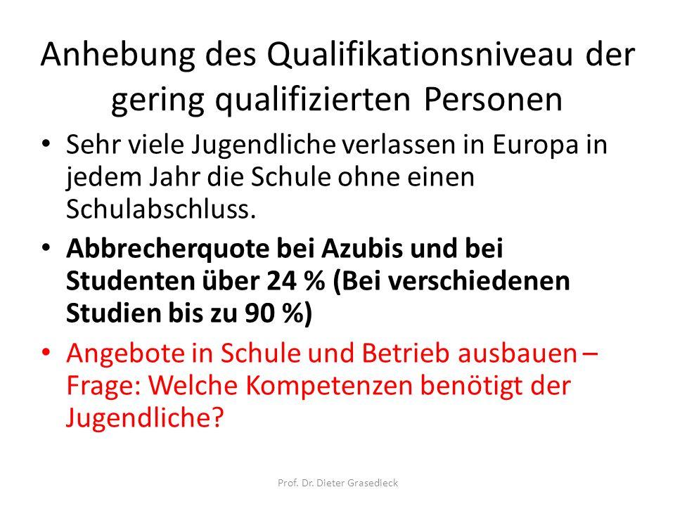 Anhebung des Qualifikationsniveau der gering qualifizierten Personen