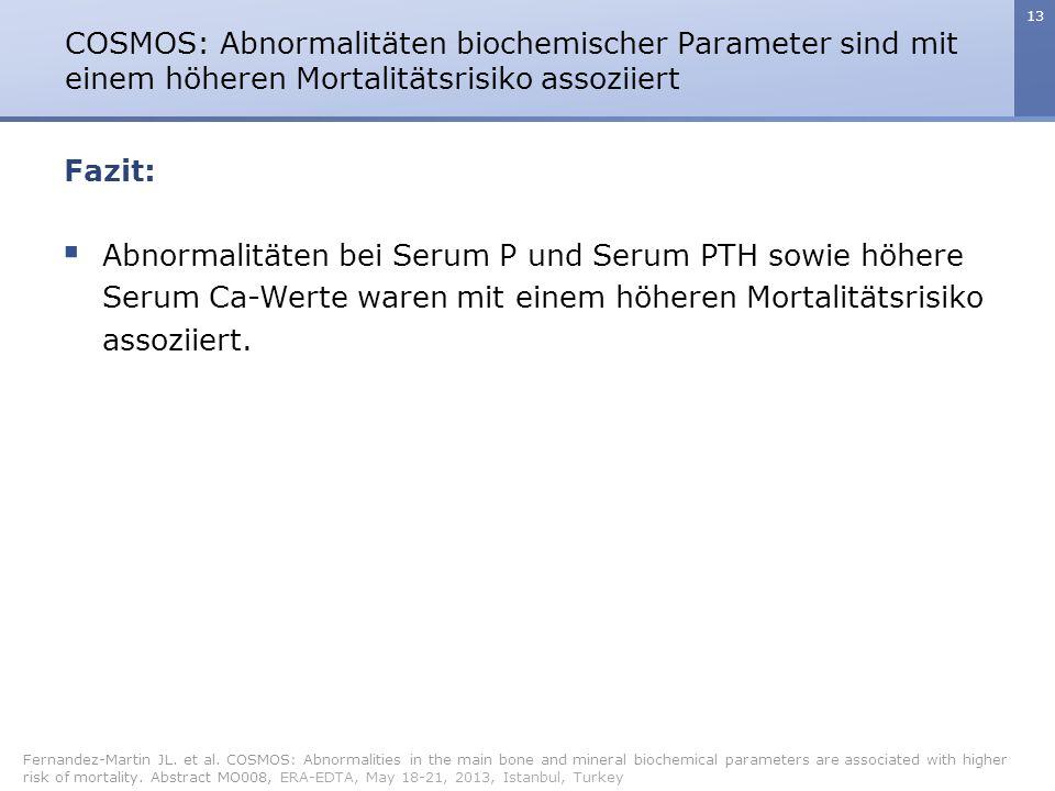 COSMOS: Abnormalitäten biochemischer Parameter sind mit einem höheren Mortalitätsrisiko assoziiert