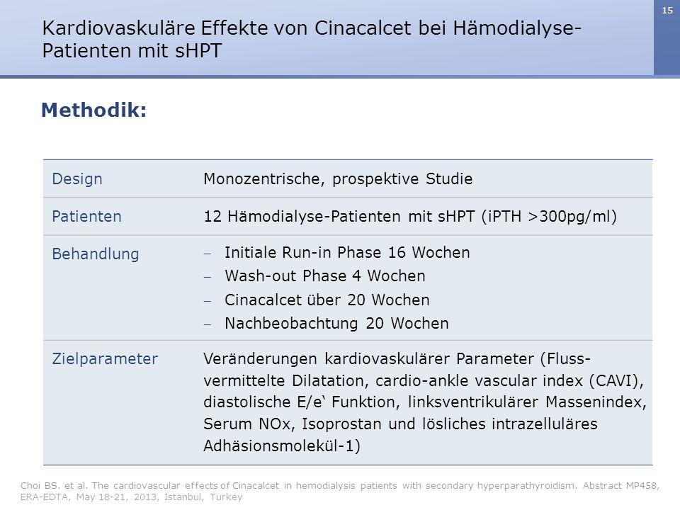 Kardiovaskuläre Effekte von Cinacalcet bei Hämodialyse-Patienten mit sHPT