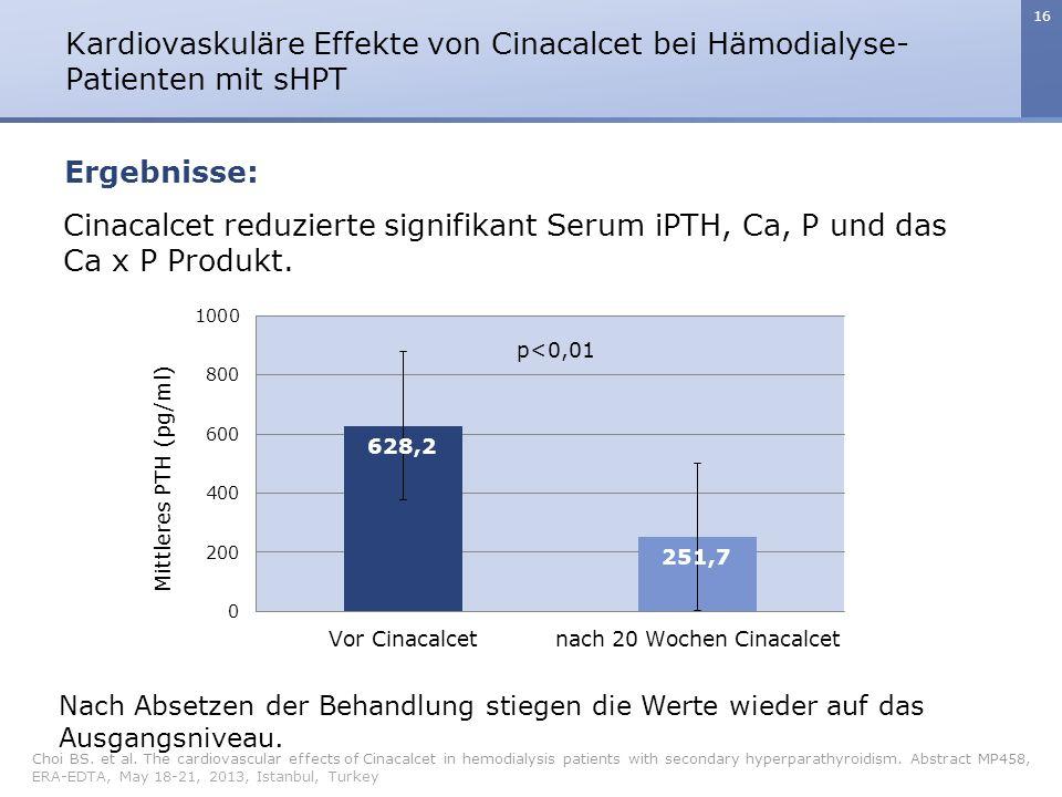 Cinacalcet reduzierte signifikant Serum iPTH, Ca, P und das