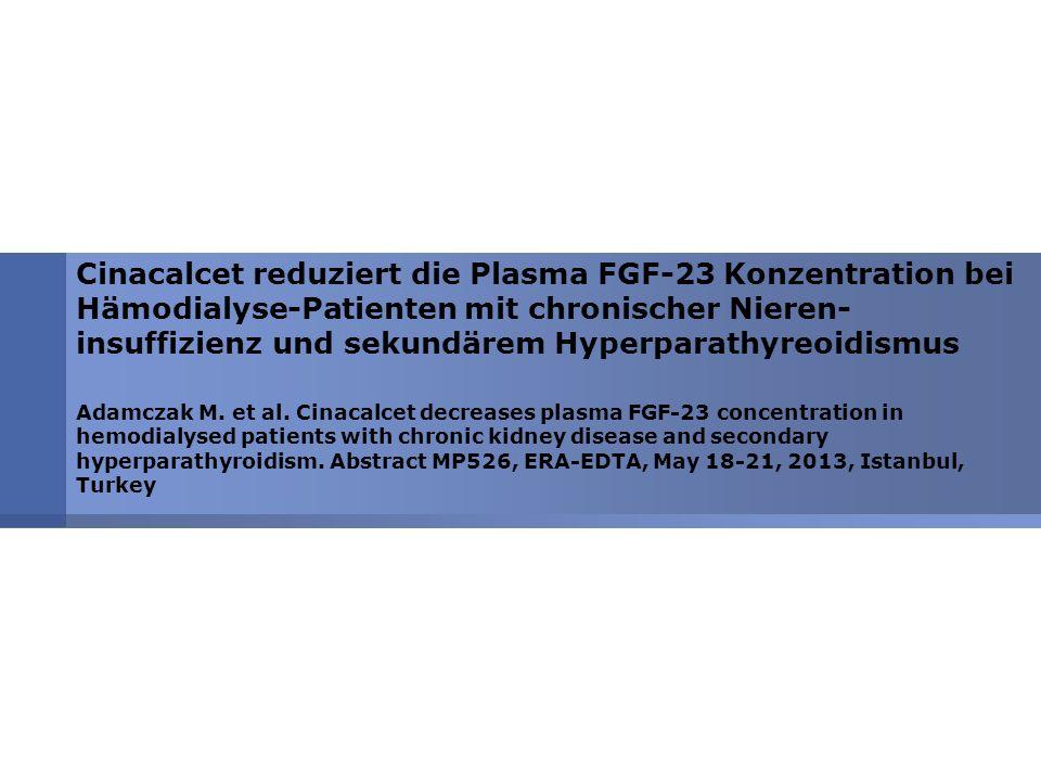 Cinacalcet reduziert die Plasma FGF-23 Konzentration bei Hämodialyse-Patienten mit chronischer Nieren-insuffizienz und sekundärem Hyperparathyreoidismus