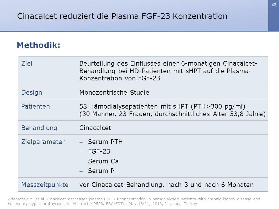 Cinacalcet reduziert die Plasma FGF-23 Konzentration