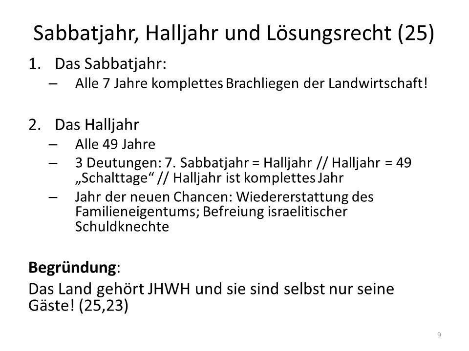Sabbatjahr, Halljahr und Lösungsrecht (25)