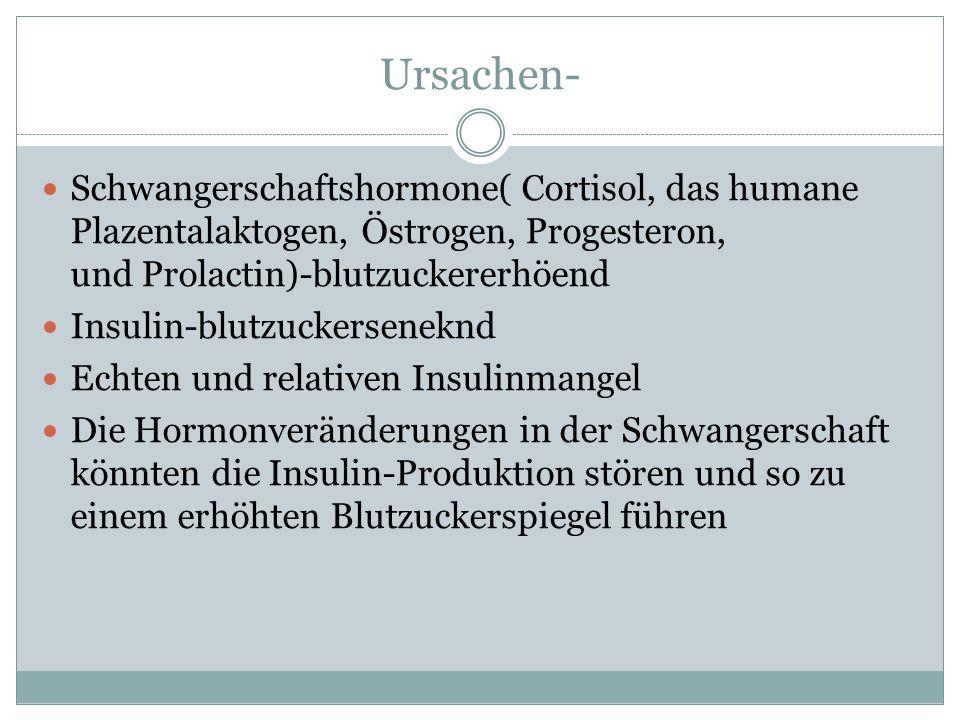 Ursachen- Schwangerschaftshormone( Cortisol, das humane Plazentalaktogen, Östrogen, Progesteron, und Prolactin)-blutzuckererhöend.