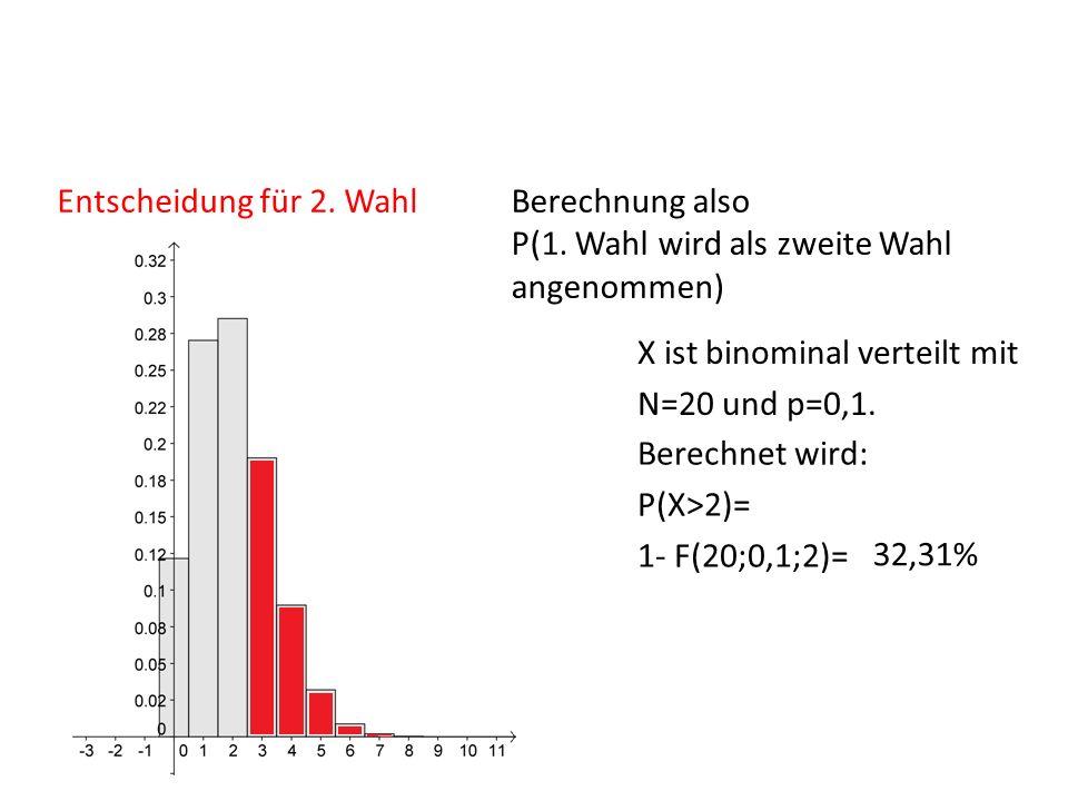 Entscheidung für 2. Wahl Berechnung also P(1. Wahl wird als zweite Wahl angenommen) X ist binominal verteilt mit.
