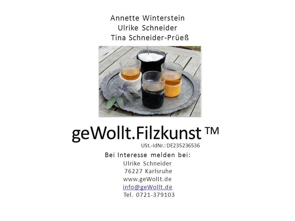Annette Winterstein Ulrike Schneider Tina Schneider-Prüeß