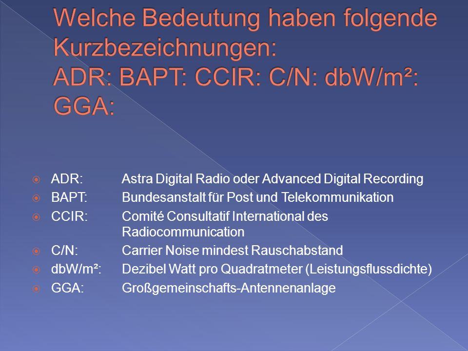 Welche Bedeutung haben folgende Kurzbezeichnungen: ADR: BAPT: CCIR: C/N: dbW/m²: GGA: