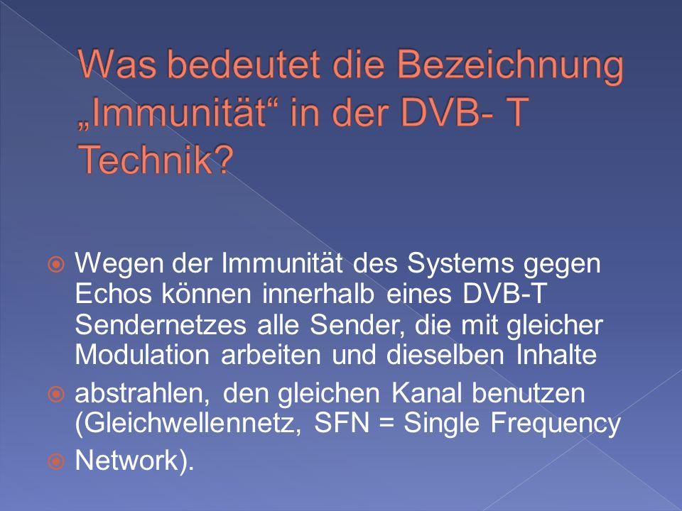 """Was bedeutet die Bezeichnung """"Immunität in der DVB- T Technik"""