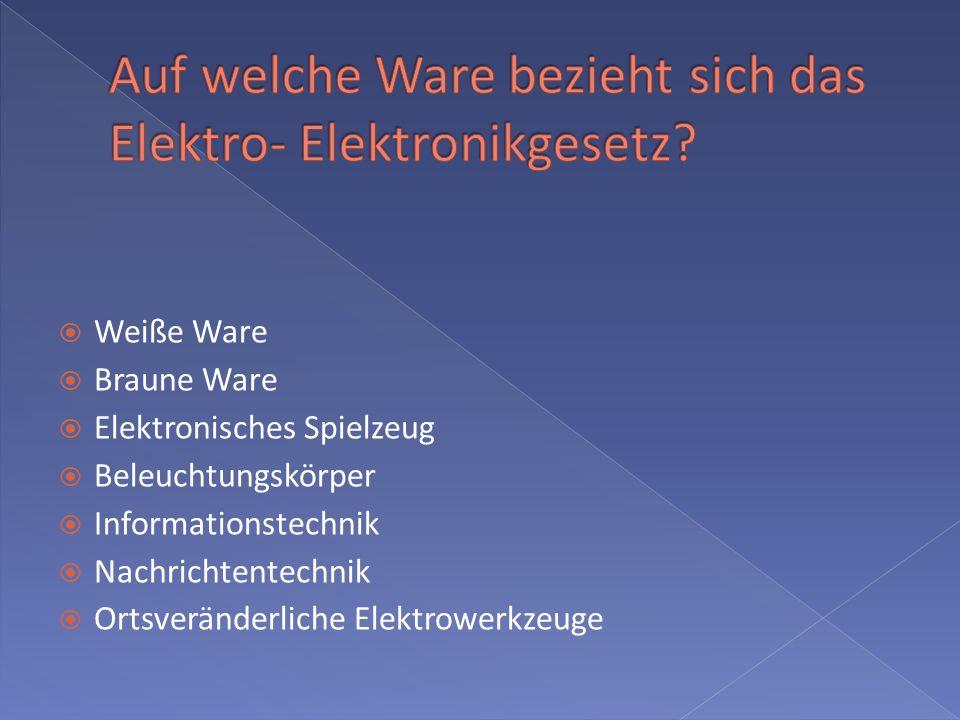 Auf welche Ware bezieht sich das Elektro- Elektronikgesetz
