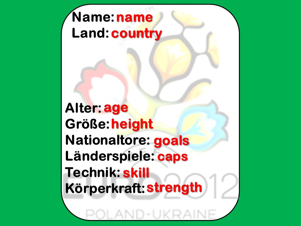 Name: Land: name country Alter: Größe: Nationaltore: Länderspiele: