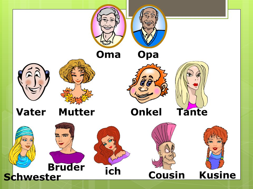 Oma Opa Vater Mutter Onkel Tante Bruder ich Cousin Kusine Schwester