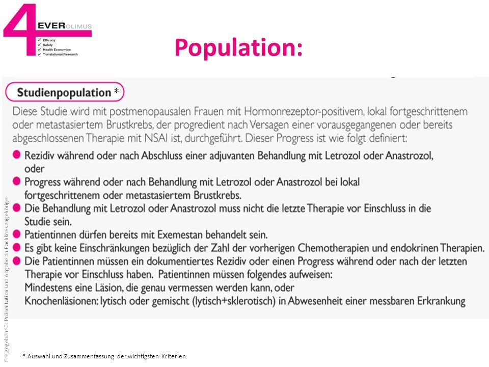 Population: * * Auswahl und Zusammenfassung der wichtigsten Kriterien.