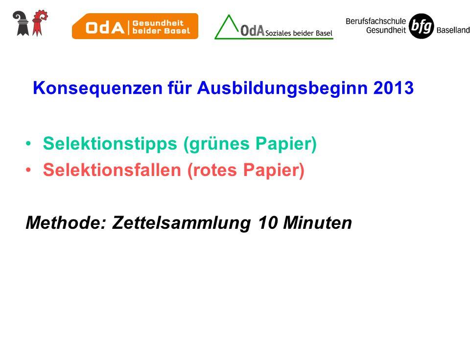 Konsequenzen für Ausbildungsbeginn 2013