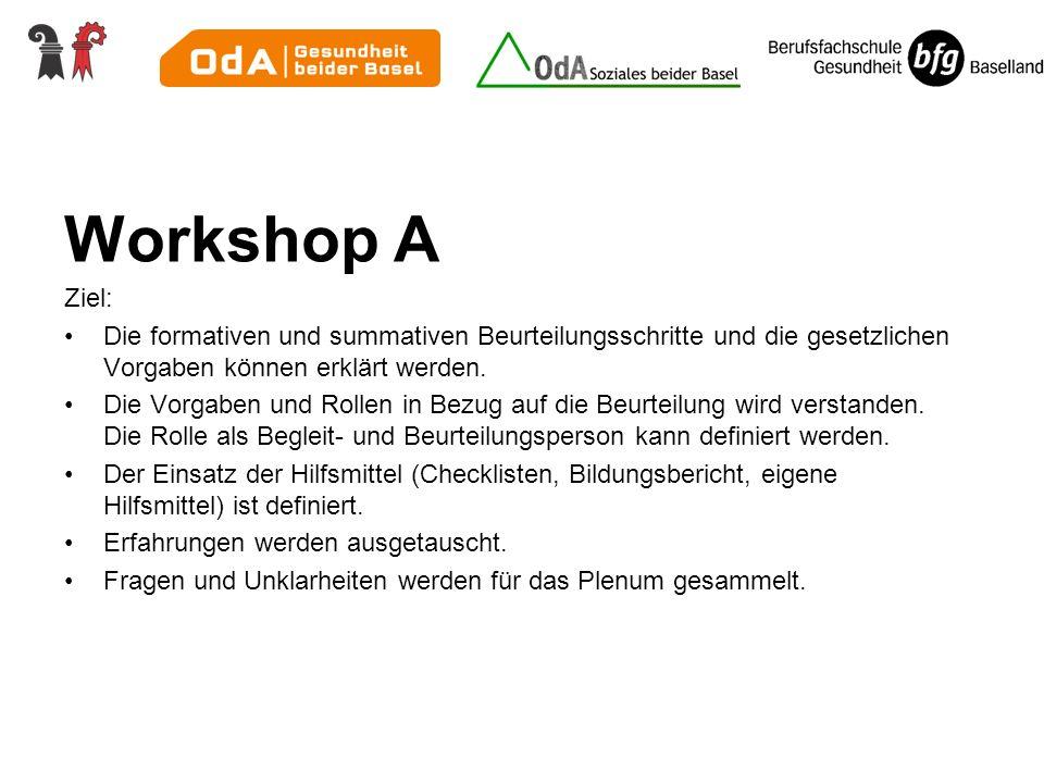 Workshop A Ziel: Die formativen und summativen Beurteilungsschritte und die gesetzlichen Vorgaben können erklärt werden.