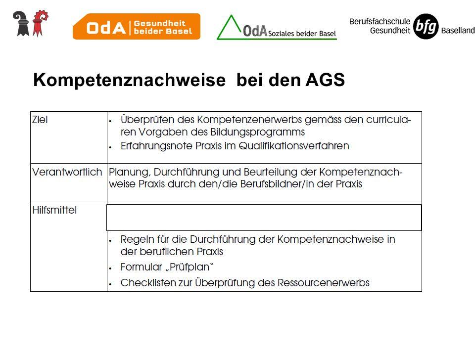 Kompetenznachweise bei den AGS