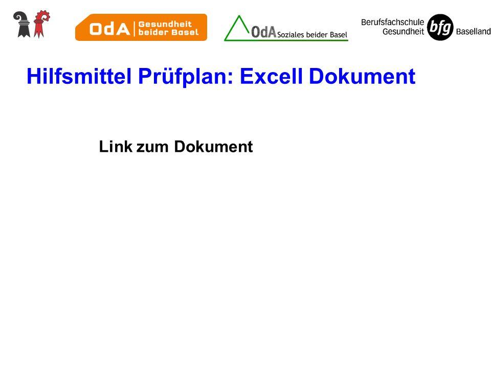 Hilfsmittel Prüfplan: Excell Dokument
