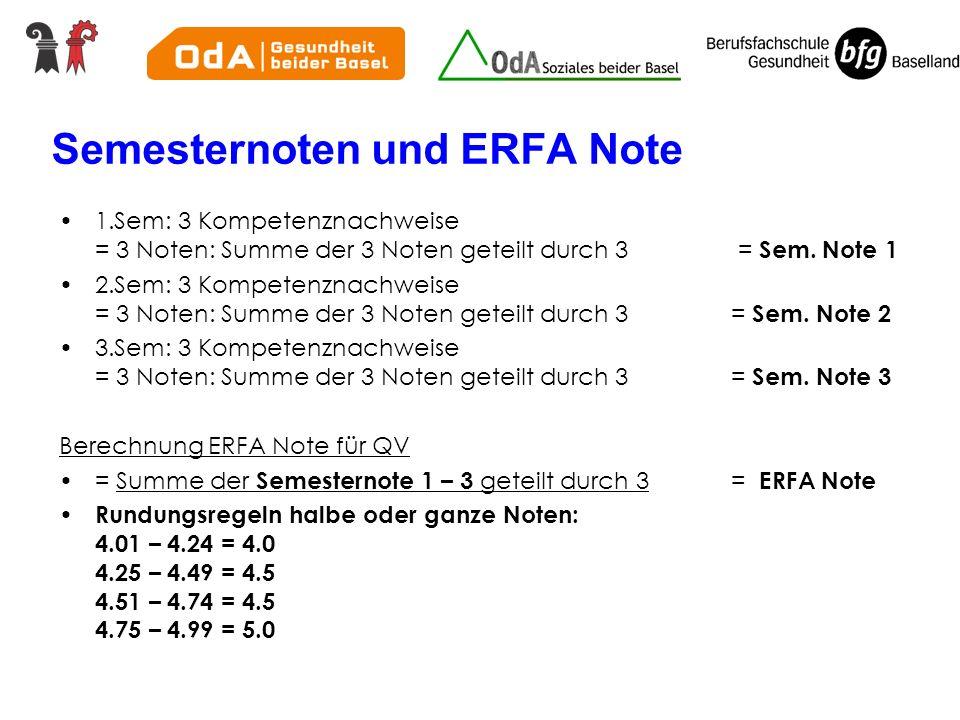 Semesternoten und ERFA Note