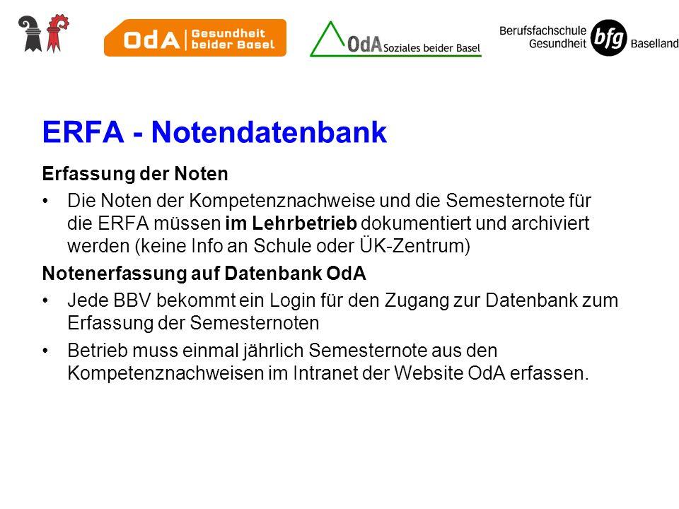 ERFA - Notendatenbank Erfassung der Noten