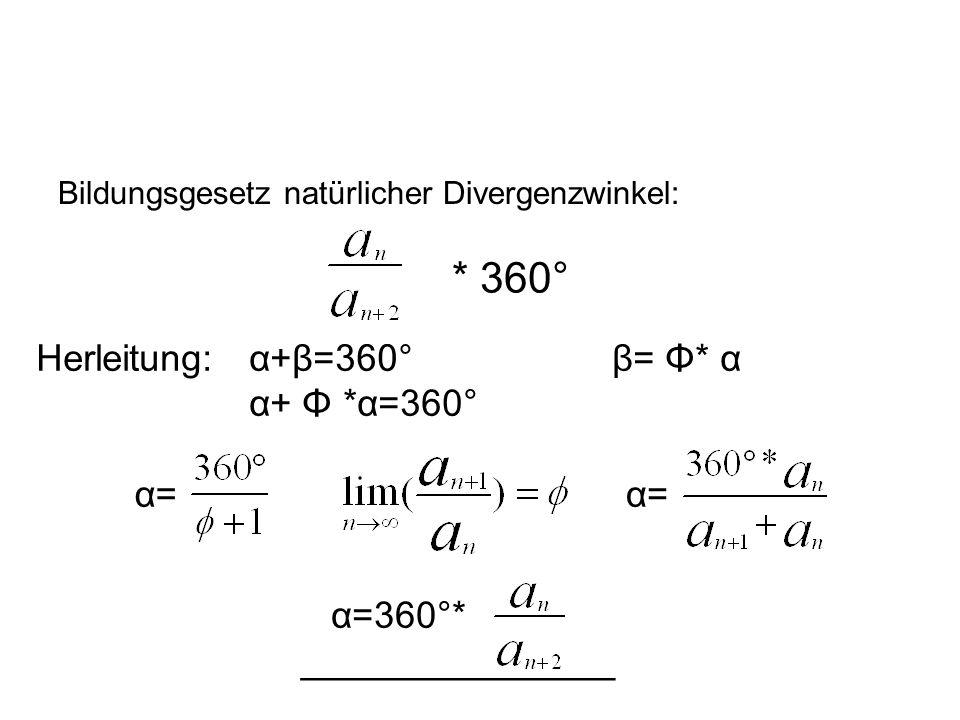 * 360° Herleitung: α+β=360° β= Φ* α α+ Φ *α=360° α= α= α=360°*