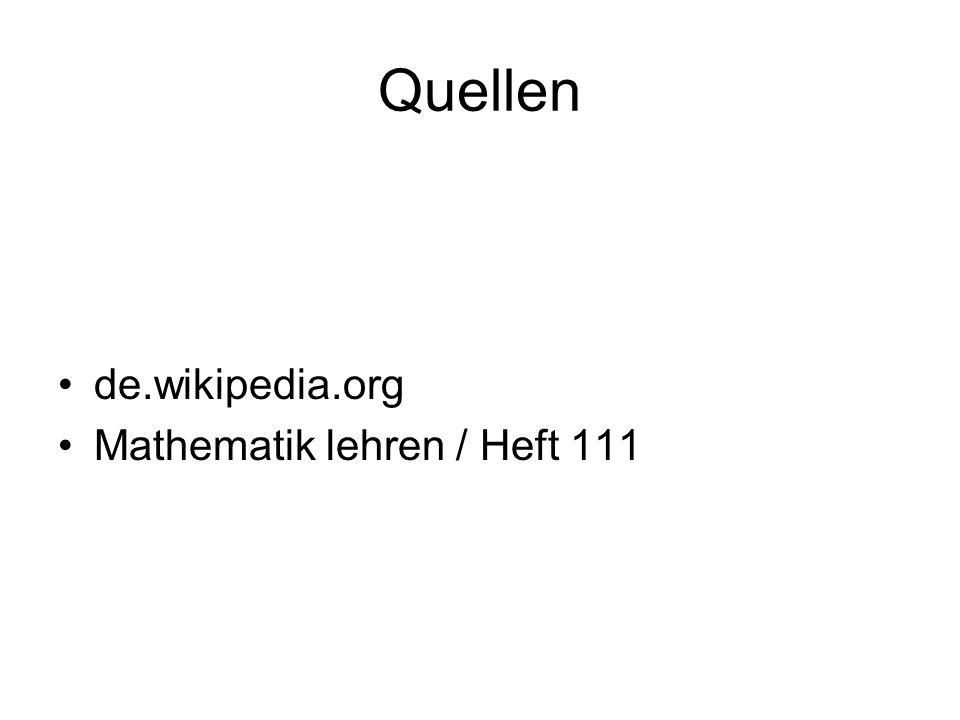 Quellen de.wikipedia.org Mathematik lehren / Heft 111