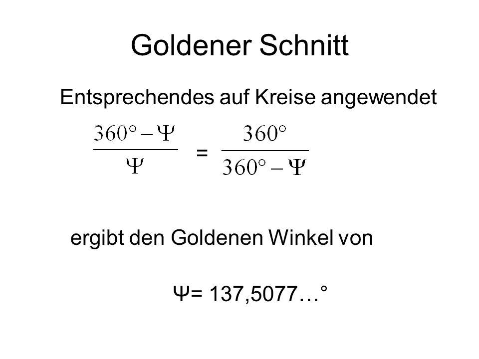 Goldener Schnitt = ergibt den Goldenen Winkel von Ψ= 137,5077…°