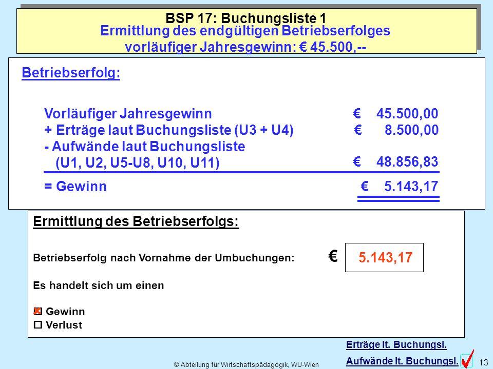 BSP 17: Buchungsliste 1 Ermittlung des endgültigen Betriebserfolges vorläufiger Jahresgewinn: € 45.500,--