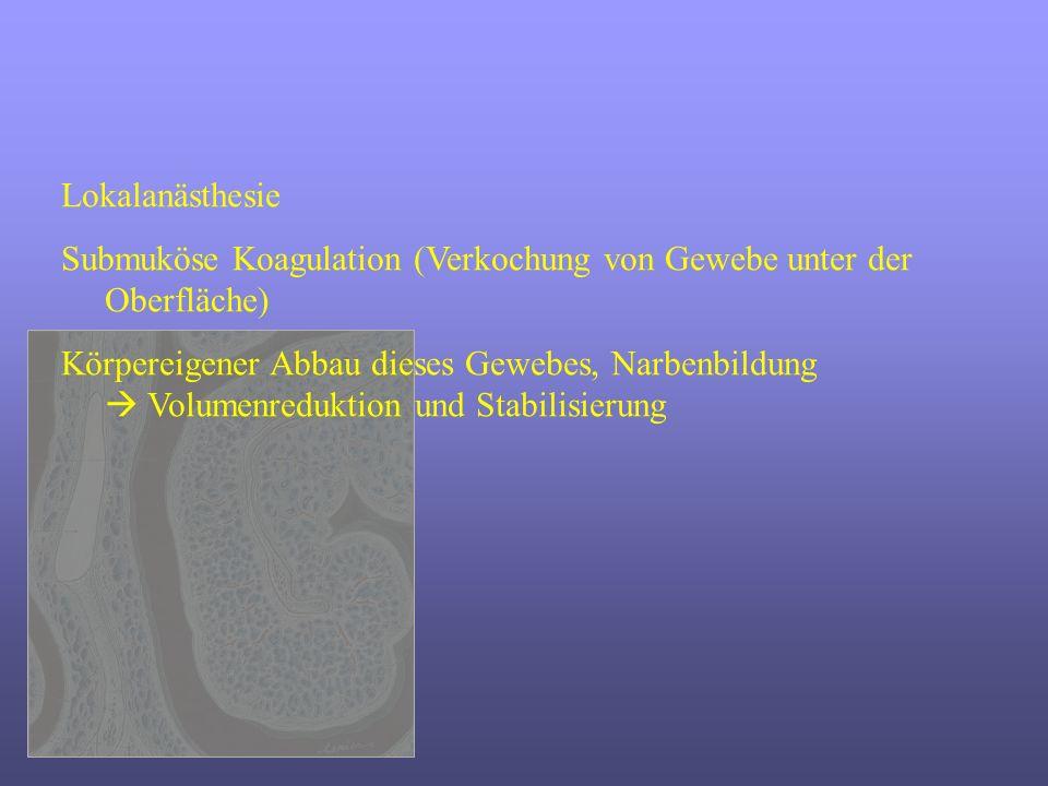 Lokalanästhesie Submuköse Koagulation (Verkochung von Gewebe unter der Oberfläche)