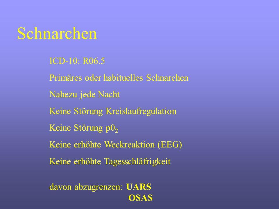 Schnarchen ICD-10: R06.5 Primäres oder habituelles Schnarchen
