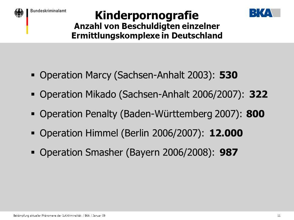 Kinderpornografie Anzahl von Beschuldigten einzelner Ermittlungskomplexe in Deutschland
