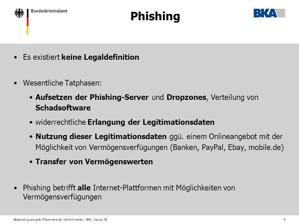 Phishing Es existiert keine Legaldefinition Wesentliche Tatphasen: