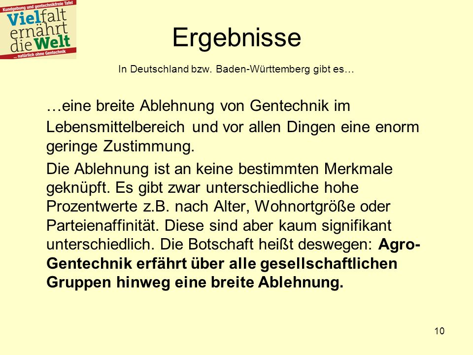 Ergebnisse In Deutschland bzw. Baden-Württemberg gibt es…