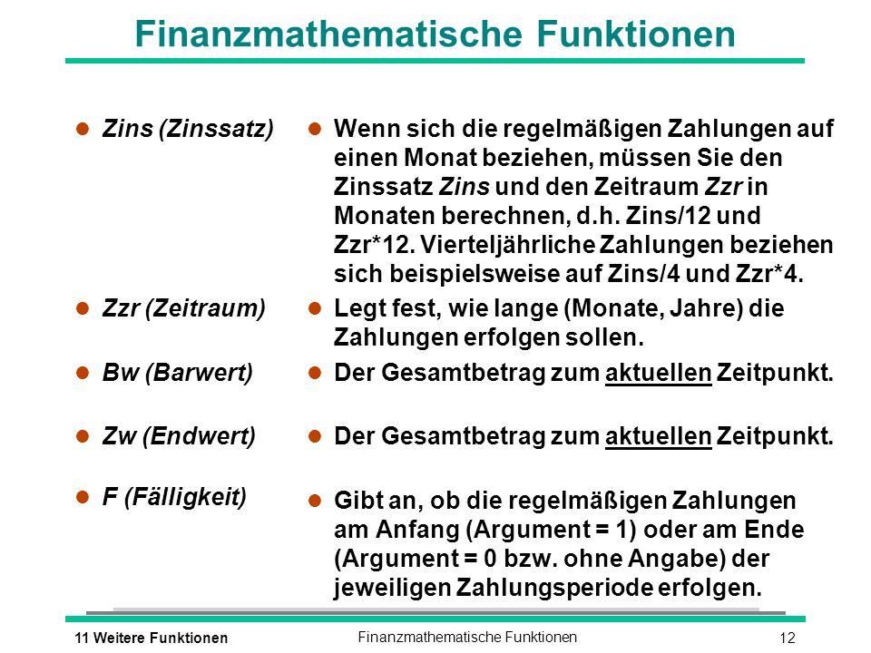 Finanzmathematische Funktionen