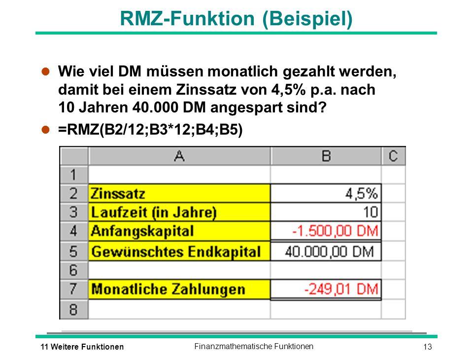 RMZ-Funktion (Beispiel)