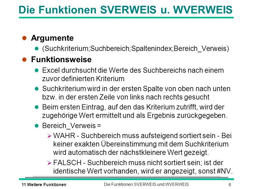 Die Funktionen SVERWEIS u. WVERWEIS