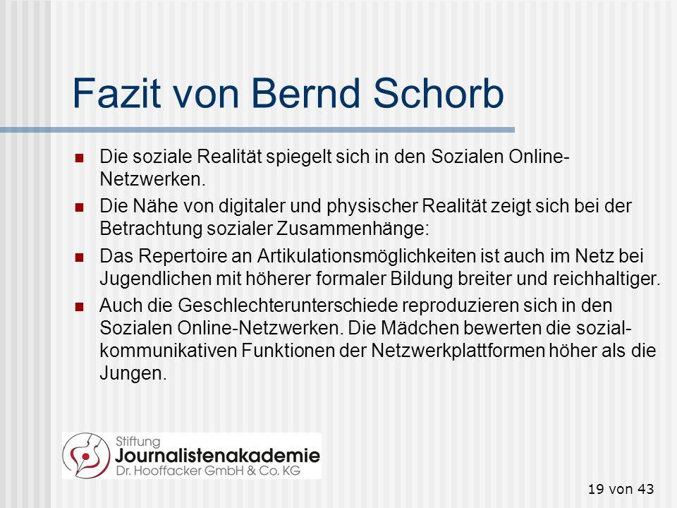 Fazit von Bernd Schorb Die soziale Realität spiegelt sich in den Sozialen Online-Netzwerken.