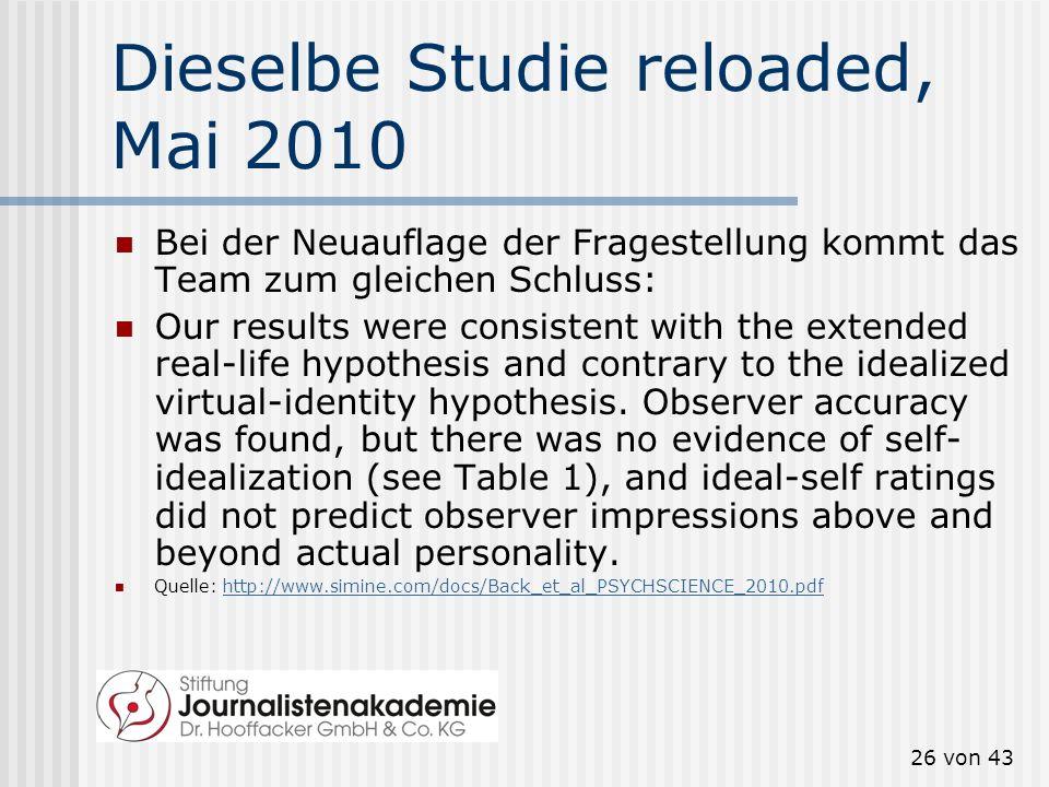 Dieselbe Studie reloaded, Mai 2010