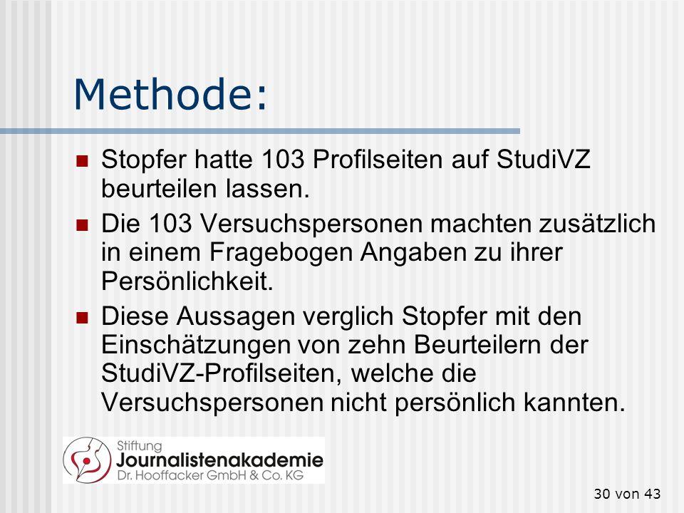 Methode: Stopfer hatte 103 Profilseiten auf StudiVZ beurteilen lassen.